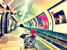 Brompton bicycle in the tube