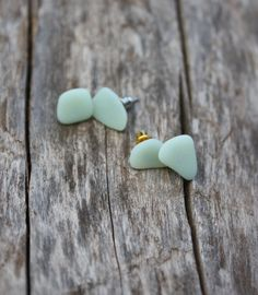 Jade Sea Glass Earrings Sea Glass Jewelry Sea Glass by DRaeDesigns, $13.00, @Jess Liu Heath