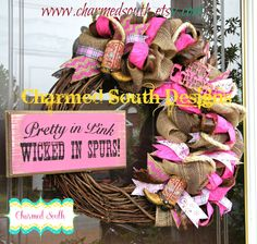Cowgirl Grapevine Burlap Wreath by CharmedSouth on Etsy, $75.00
