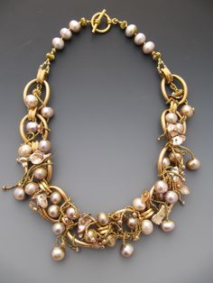 Vintage brass chain collar with fresh water pearls LuciaAntonelli.com