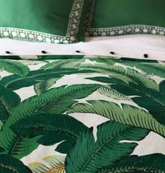 <p>Lanai gets its name from the style of sumptuous verandas of grand Hawaiian beach houses. Its lush banana leaf pattern is effortlessly glamorous in rich emerald and ochre hues, making a striking organic statement in your splendid home. ; Duvet is compried of decorative fabrics on both sides with ties inside all four corners for easy comforter attachment. ; Professional dry clean only using mild water-free solvents or dry cleaning products.</p><table cellpadding=&qu...