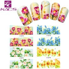 C272-275 Gold & Blue & Pink Flower water nail decal Nail Art Stickers Tips Decal The colorful pattern full cover nail sticker(China (Mainland))