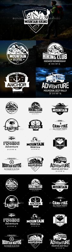Mountain Hiking Logos and Badges - Badges & Stickers Web Elements