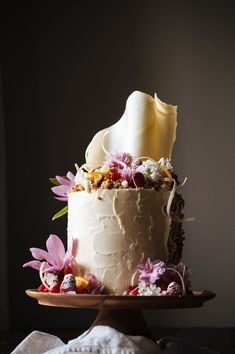 Rhubarb and Orange Cake with Vanilla Bean Swiss Meringue Buttercream and Oat Crumble. Over-the-top cake! Pretty Cakes, Beautiful Cakes, Amazing Cakes, Beaux Desserts, Just Desserts, Food Cakes, Cupcake Cakes, Naked Cake, Love Cake