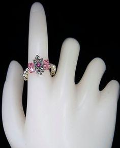 Pink Swarovski Beaded Cocktail Ring by snjvegas on Etsy, $10.00