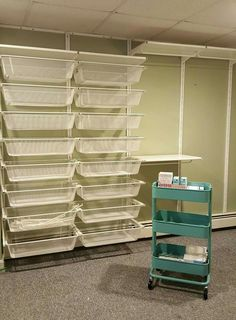 storage for pants/ leggings/ sweaters and Tshirts Workspace Inspiration, Room Inspiration, Warehouse Shelving, Business Storage, Lularoe Consultant, Tshirt Business, Office Supply Organization, Mobile Boutique, Room Closet