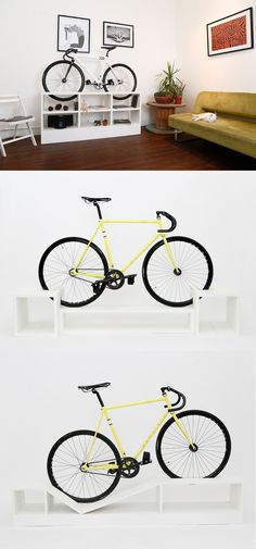 Bookcases, sideboards, and even a couch can now double as a modern bike mount. #cycling