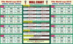 Fifa World Cup 2018 Wallchart Calender Keep Track Of Upcoming Matches Schedule Fixtures World Cup Fixtures World Cup Match World Cup 2018