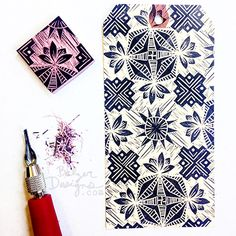 "By Julie Fei-Fan Balzer - Rotating repeat stamp with a ""wood cut style"" background"