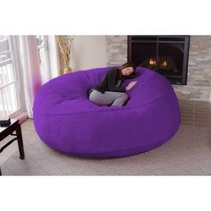 Chill Sack Huge 8 Ft Bean Bag Multiple Colors Fabrics Purple