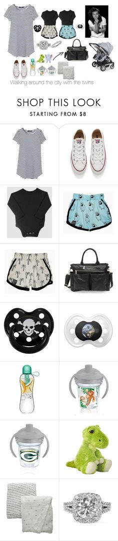 """""""In the city with your twin boys and your husband, Harry"""" by madisonmilwardstyles ❤ liked on Polyvore featuring Converse, The Honest Company, Rock Star Baby, Tervis, Carter's, Bébé au Lait, Vera Wang and Blue Nile"""
