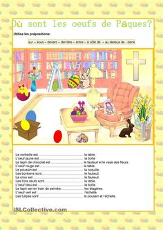 Joyeuses Pâques - Prépositions Core French, French Class, French Lessons, Prepositions, Teaching French, Learn French, Worksheets, Activities, Education