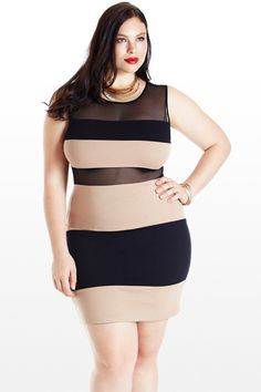 Take a Peek Mesh Colorblock Dress Sexy curvy girl BBW Curves Plus Size Model Thick