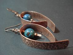 Hand hammered copper earrings, dangle earrings, unique jewelry, oxidized copper jewelry, blue earrings