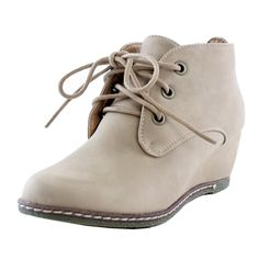Nature Breeze Willow-01 Women's Lace Up Faux Leather Ankle Wedge Boots Beige PU -- Continue to the product at the image link.