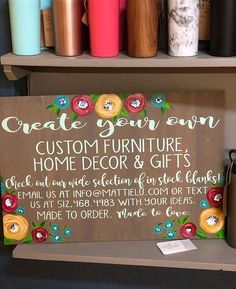 So many goodies to choose from at our booth at Odd & Company! No problem! We can custom make any item for you! Always made to order. Amish Furniture, Solid Wood Furniture, Custom Furniture, Furniture Decor, Custom Door Hangers, Customized Gifts, Etsy Store, Make It Simple, Fall Decor
