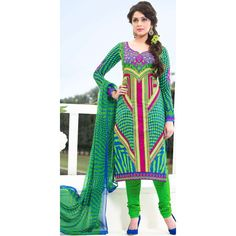 Gorgeous Green Cotton #Churidar Kameez #SalwarKameez #Clothing #IndianDresses