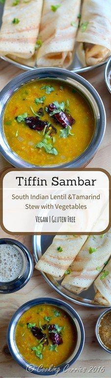Tiffin Sambar - South Indian Lentil and Tamarind Stew with Vegetables - Vegan and Gluten Free - www.cookingcurries.com