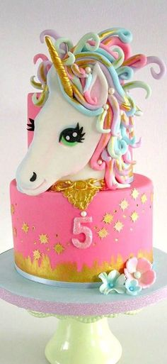 Birthday is a special day for everyone, and a perfect cake will seal the deal. Fantasy fictions create some of the best birthday cake ideas. Surprise your loved one with a creative cake that displays the best features of his/her favorite fantasy fictions! Unicorn Birthday Parties, Unicorn Party, Unicorn Cakes, Rainbow Unicorn, Unicorn Head Cake, Birthday Cakes Girls Kids, Cake Birthday, 5th Birthday, Birthday Ideas