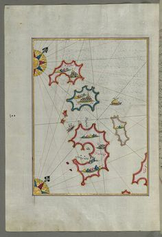 Illuminated Manuscript, Map of small islands northwest of the Pag Island (Croatia) carta di Piri Reis XV sec