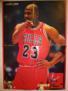 Michael Jordan Roberto Baggio Chicago Bulls NBA Italy Soccer Super Rare Poster 2