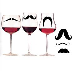 Mustache Wine Glass Decals from Etsy