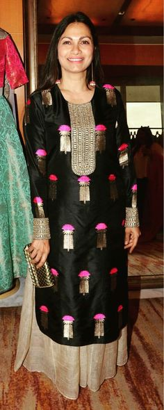 black with touch of gold and hint of colour Pakistani Dresses, Indian Dresses, Indian Outfits, Indian Attire, Indian Ethnic Wear, India Fashion, Ethnic Fashion, Women's Fashion, Kurta Designs