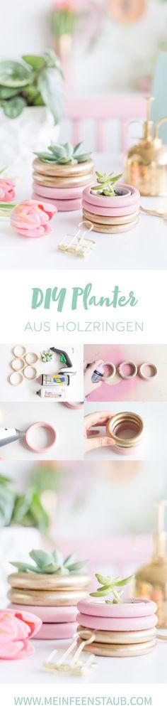 Kreative DIY-Idee zum Selbermachen: Pflanztopf aus Holzringen oder Gardinenringen basteln - einfache Upcycling-Idee zum Basteln aus Holzringen für Blumentöpfe