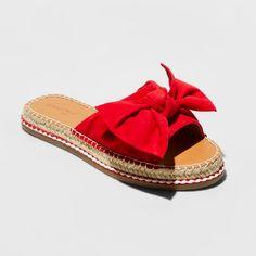 Women's Sigma Bow Espadrille Sandals - Universal Thread™ - image 1 of 3 Red Espadrilles, Espadrille Sandals, Women's Sandals, Fabric Bows, Ladies Party, Flip Flop Sandals, Flip Flops, Summer Shoes, Navy And White