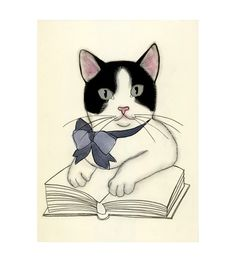Nursery art Cat art Kitten art drawing (print) - 4 for 3 SALE The Literary Kitten - 4 X 6 print
