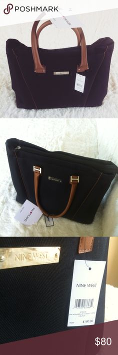 New with tag! Nine West black Annabelle tote This would make the perfect handbag!has a clean shiny color with mocha brown trim.this bag is brand new never been used!all original tags are still on it !has serval different compartments .the inside of this bag is so big it can be used for anything LITERALLY ANYTHING-diaper bag, purse,tote,clothes bag,shopping bag ,storage bag ect!this bag retails at a price of $180 but im currently given it away for $80 i am  willing  to accept reasonable…