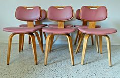 mid century modern set of 6 bentwood mauve chairs