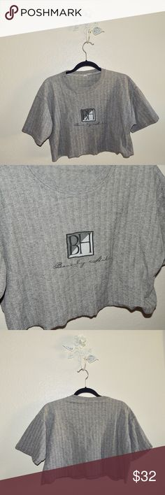 Vintage Beverly Hills gray crop top Vintage Beverly Hills gray crop top. perfect with jeans, heals and a bright pink lip. Nasty gal used for search reasons only Nasty Gal Tops Crop Tops