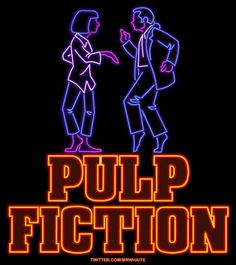 """""""Pulp Fiction"""" neon ANIMATED .gif movie posters, by UK designer """"MrWhaite"""" 