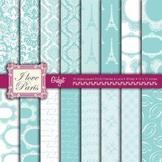 Digital Paper Pack Paris  Tiffany Blue  Parisian by gidgetdesigns, $5.50