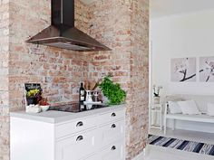 Apartment, Kitchen Countertop Design In Apartment With Exposed Brick Wall: natural apartment decorating with minimalist design Swedish Interior Design, Swedish Interiors, Interior Designing, Interior Styling, Interior Decorating, White Wooden Floor, Shabby Chic Stil, Sweet Home, Red Brick Walls