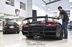 The Lamborghini Murcielago SV gets a Connoisseur Exterior Detail, plus full frontal clearbra and custom rockers and bat wings, matte black vinyl leading edges and a basic interior detail.