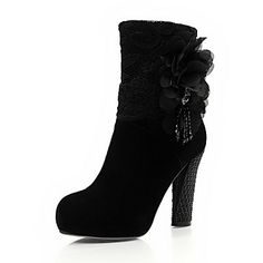 Tasteful Suede Chunky Mid-Calf Boots with Black Flower Party Shoes – USD $ 99.99
