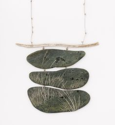 """Contemporary Jewelry Design by Andrea Williams: Stillness Pendant: Created as a companion piece to Hiroshige's print """"Hara"""". The pendant focuses in on the still rice paddy by the side of the road. Beach stones, Sterling silver, fine silver."""