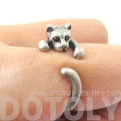 Adorable Kitty Cat Animal Pet Wrap Around Hug Ring in Silver - Size 3 to Size 8.5 - $11.50 #kittens #cats #animals #jewelry #rings #cute