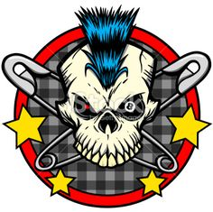 Skull mohawk safety pin tattoo