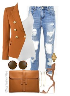 """""""Rust"""" by highfashionfiles ❤ liked on Polyvore featuring Hermès, Intimissimi, Balmain, Versus, Jennifer Meyer Jewelry and Linda Farrow"""