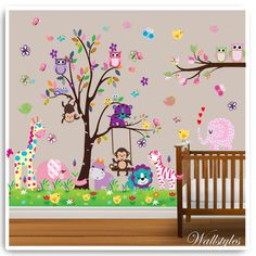Owl Wall Stickers Monkey Lion Animal Tree Butterfly Decor Mural Decal Nursery
