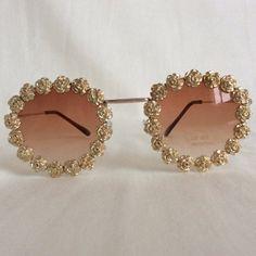 Amadeus - Round Embellished Sunglasses Glasses Gold Roses Flowers