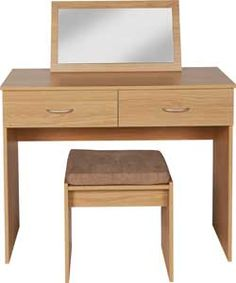 Cheval Dressing Table, Stool and Mirror - Oak Effect.