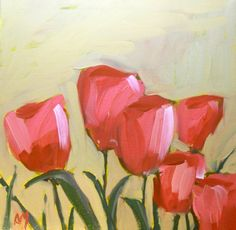 pink garden tulips original painting by moulton by prattcreekart  For mom?