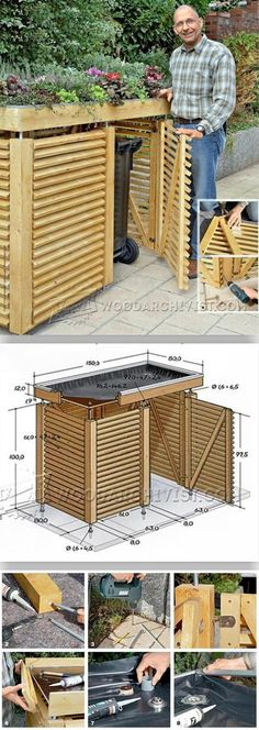 poubelle tonnenhaus f r 4 m lltonnen 240 liter freistehend garden 2017 pinterest. Black Bedroom Furniture Sets. Home Design Ideas