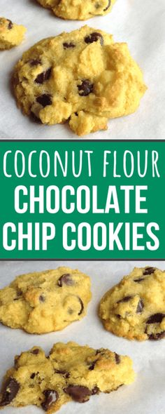 Coconut Flour Chocolate Chip Cookies - Chocolate Chip - Ideas of Chocolate Chip - FANTASTIC coconut flour chocolate chip cookie recipe! Keto Cookies, Coconut Flour Cookies, Coconut Chocolate Chip Cookies, Keto Chocolate Chips, Almond Cookies, Coconut Flour Desserts, Coconut Flour Brownies, Coconut Flour Pancakes, Coconut Macaroons