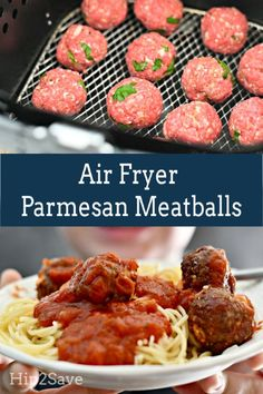 These easy Parmesan meatballs come out of the air fryer so TASTY, they make a simple dinner even my pickiest eater LOVES. Air Fryer Parmesan Meatballs - Make Easy Parmesan Meatballs in the Air Fryer - Air Fryer Recipes Potatoes, Air Fryer Oven Recipes, Air Frier Recipes, Air Fryer Dinner Recipes, Air Fryer Recipes Meatballs, Recipes Dinner, Dinner Ideas, Pollo Keto, Cooks Air Fryer
