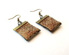 Indian brocade textile art earrings by Gilgulim on Etsy, $14.80